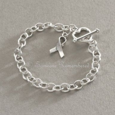 Silver Awareness Ribbon Charm Bracelet | Someone Remembered